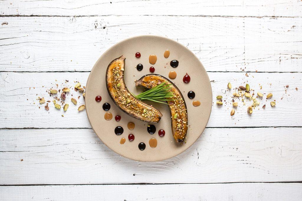 Banana caramelizata cu fistic
